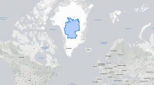 Deutschland Grönland Größenvergleich