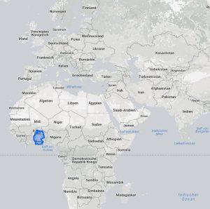 Vergleich Größe Grönland und Afrika